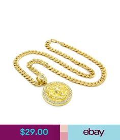 """Chains, Necklaces & Pendants Mens Gold Plated Lion Face Clear Eyes Iced Out Pendant 30"""" Necklace Cuban Chain #ebay #Fashion"""