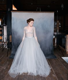 Special Friday: Emily Riggs Bridal Romantic Lace Wedding Dresses NIGHTINGALE grey tulle wedding dress / www. Two Piece Wedding Dress, Colored Wedding Dresses, Tulle Wedding, Bridal Dresses, Wedding Gowns, Wedding Bells, Long Sleeve Wedding, Wedding Dress Sleeves, Sleeve Dresses