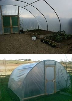 Re-purpose an old Trampoline into a Green House!  With visqueen(a role of plastic), scrapped galvanized fence post or PVC pipe, and using two C shaped half's of a trampoline. You can easily construct your own Green House for propagating your spring seedlings or growing year around.