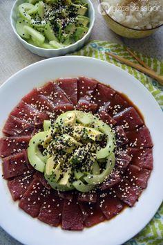 Sashimi de atún | http://www.pizcadesabor.com/2015/03/06/sashimi-de-atun/