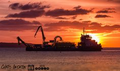 Sunrise over the Beleef Boskalis cable ship Ndurance on contract for Guernsey Electricity Limited in Havelet Bay. #LoveGuernsey  http://chrisgeorge.dphoto.com/#/album/4daaes/photo/29208138  Picture Ref: 02_02_15 — at St. Peter Port, Guernsey, Channel Islands.