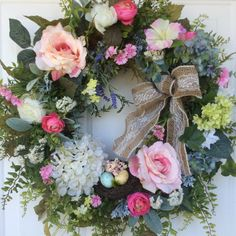 Summer Wreath-Spring Wreath-Summer Door Wreath-Garden Wreath-Wedding Wreath-Victorian Wreath-Elegant Wreath-Ivy Wreath-Summer Rose Wreath  This soft and elegant wreath features a gorgeous palette of pastel colors that epitomizes springtime. Beautiful pink blush roses, hydrangea, ranunculus, viburnum, lavender, dianthus and other garden blossoms create a wonderful display that is a perfect addition to your Easter decor. A generous mix of natural looking foliage, including woodland ferns, soft…
