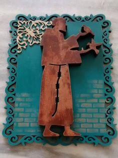 Quadrinho São Francisco de Assis, em  placa de mdf cortada a lase, com chipboard e stencil