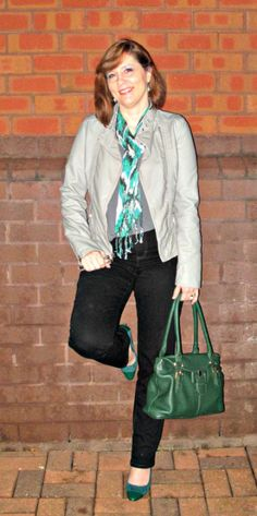 Grey Leather Jacket with Green Accessories Over 40 petite blogger accidental homeschooling Mom
