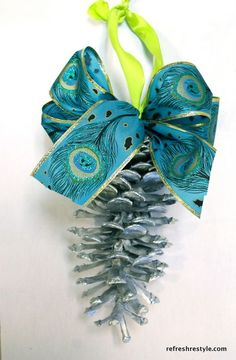 How to add Ribbon to Pinecones beautiful natural decor for Christmas - RefreshRestyle.com