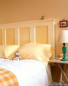 62 DIY Cool Headboard Ideas - attach molding to top of door, turned horizontally. Paint as desired and hang with heavy-duty hangers