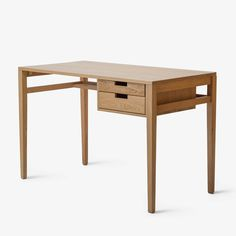 The updated work desk, the Draper has both practical functionality and understated style. Its clean lines and leggy silhouette adds contemporary elegance to any Teak Furniture, Refurbished Furniture, Woodworking Furniture, Furniture Styles, Home Decor Furniture, Furniture Design, Floor Desk, Contemporary Office Desk, Home Desk