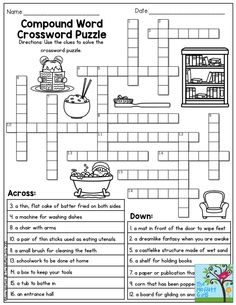 Compound Word Crossword Puzzle.  Perfect for 3rd grade! Plus, TONS of printables to keep children engaged and having FUN!