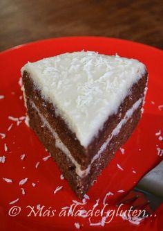 Más allá del gluten...: Torta de Chocolate con Cubierta de Coco - Sin Huevos (Receta GFCFSF, Vegana)