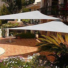 Shade&Beyond 2 Pcs Sun Shade Sail Triangle Sand UV Block for Yard Patio Backyard - Modern Deck Shade, Backyard Shade, Pergola Shade, Pergola Patio, Pergola Plans, Backyard Patio, Backyard Landscaping, Pergola Ideas, Patio Sails