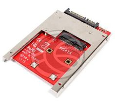 """Tarjeta adaptadora de SATA a mSATA (mini-SATA de 56-pin). Se trata de una tarjeta de formato disco duro de 2,5"""" que permite acoplar una tarjeta de memoria SSD. La tarjeta adaptadora dispone de conector SATA de 22-pin (15-pin + 7-pin)."""