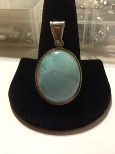 Dominican Larimar Sterling Pendant Vintage Silver Blue Stone Big Stamped Southwestern Boho Jewelry 925 Necklace Enhancer Slide Rare Huge Big on Etsy, $58.00