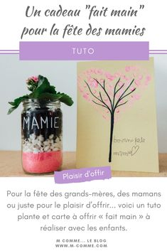 For grandma& party, moms or just for the pleasure of giving . Infant Activities, Giving, Grandparents, Voici, Terrarium, Handmade Gifts, Blog, Celine, Table