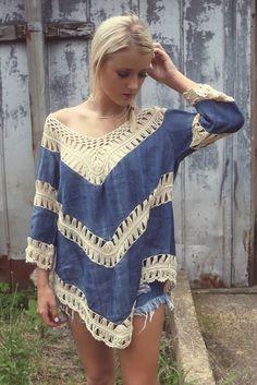 Farewell Summer Crochet Dark Denim Knit Tunic Top