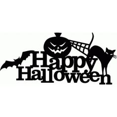 Silhouette Design Store: happy halloween spooky title decor