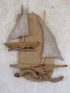 Natural Hanging Driftwood Sailboat Set  Summer by SteliosArt
