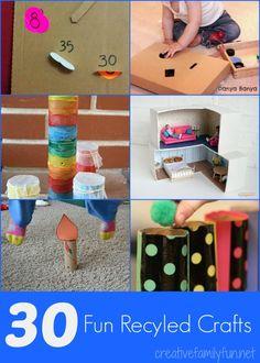 30 Fun Recycled Crafts ~ Creative Family Fun