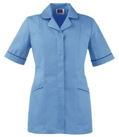 Ladies pacific blue healthcare tunic with navy contrast trim, and double action back for comfort. We are a supplier of nurse's and medical uniforms to the NHS, cosmetic surgeries, dentists and private practices.