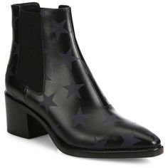 Valentino Hologram Stars Beatles Leather Chelsea Booties (7.485 ARS) ❤ liked on Polyvore featuring shoes, boots, ankle booties, marine, pointy toe booties, leather chelsea boots, block heel boots, pointed toe boots and pointed-toe chelsea boots