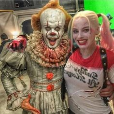 Well ain't that cute! The stuff of nightmare dating the stuff of........ another kind of dream.  What would their children look like? #It #Pennywise #Harleyquinn #Harley #suicidesquad #birdsofprey #itMovie #itfilm #warner #warnerbros #love #cute #couple #comics #clown #comicbook #comicbooks #harleyquinncosplay