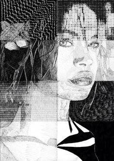 """""""Anna Falchi"""" - Ritratto Disegno a China Tecniche miste Misure 35x50 cm"""