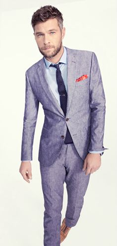 Spring/Summer wedding suit, JCrew Ludlow suit in Japanese Chambray -- menswear style