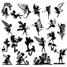 Detailed Fairy Die Cut Out Silhouette - 20 x fairies and a .- Detailed Fairy Die Cut Out Silhouette – 20 x fairies and a deer. Great for fairy jar, cardmaking, scrapbooking, party bag fillers image 0 - Flower Fairies, Body Art Tattoos, Small Tattoos, Foot Tattoos, Flower Tattoos, Small Fairy Tattoos, Sleeve Tattoos, Tatoos, Elfen Tattoo