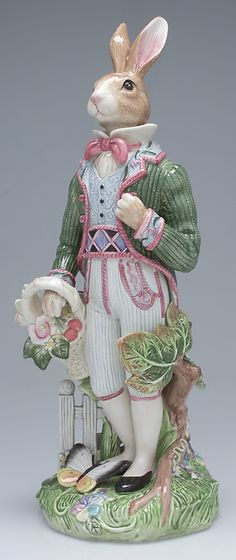 "Large Male Rabbit Figurine in Old World Rabbits by Fitz and Floyd,  18"" height"