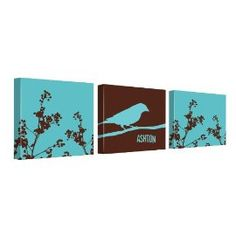 Branches and Bird Canvas Kids Wall Décor