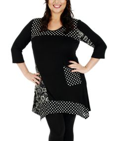 Aster Black & White Polka Dot Pocket Tunic - Plus by Aster #zulily #zulilyfinds
