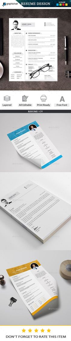 Resume Bundle - Resumes Stationery Download here: https://graphicriver.net/item/resume-bundle/19989172?ref=classicdesignp