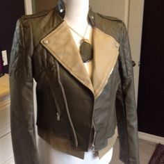 Faux Leather Jacket Olive green and tan jacket with zipper front and zipper pockets. J Nikibiki Jackets & Coats