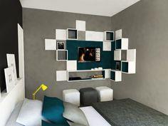 ORIGINAL THE HOUSE | THE HOUSE ORIGINAL - Idéia inicial para quarto masculino | Initial sketch for man bedroom interior design - #bedroom #blue #man #gray #ideia #minimal #azul #cinza #quarto #masculino