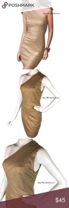 Express gold metallic one shoulder bandage dress Stunning body hugging one shoulder good metallic bandage mini dress dress. Great condition, smoke free home! As seen an actress Malin Akerman. Retailed at $99. Please read updated bio regarding closet policies prior to any inquiries. Express Dresses One Shoulder