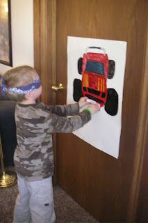 pin the license plate (or tires) on the monster truck
