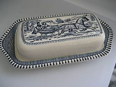 Vintage Currier & Ives Royal China 1/4 Pound Butter Dish