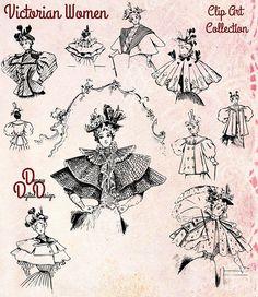 Victorian Shoes, Victorian Pattern, Victorian Women, Victorian Era, Fashion Prints, Fashion Art, Vintage Outfits, Vintage Fashion, Clip Art