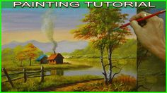Acrylic Landscape Painting Tutorial Autumn Houses Near the River in Basic Step by Step - YouTube