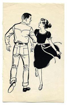 enthaler swing your partner. The Bart&Co. Person Silhouette, Silhouette Painting, Vintage Comics, Vintage Art, Line Sketch, Ligne Claire, Retro Illustration, Digital Illustration, Shall We Dance