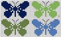 Four butterflies Cross Stitch Charts, Cross Stitch Designs, Cross Stitch Patterns, Tapestry Crochet Patterns, Bead Loom Patterns, Cross Stitching, Cross Stitch Embroidery, Bordado Tipo Chicken Scratch, Butterfly Cross Stitch