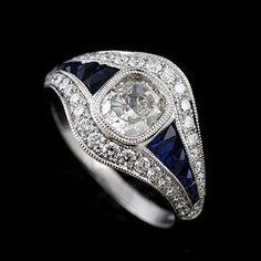 Idée et inspiration bague:   Image   Description   Art Deco Inspired Ring, Diamond Blue Sapphire Engagement Ring, Pave Channel Set Milgrain Ring, French Cut Sapphire Platinum Ring Setting