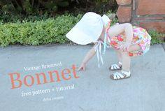 Vintage Brimmed Bonnet free pattern + tutorial - delia creates