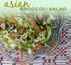 Asian Broccoli Salad 1 package broccoli slaw 1 package chicken ramen noodles broken into pieces, with seasoning packet 1/2 cup salad oil 1/4 cup white vinegar 1/4 cup sugar 3 green onions, sliced 1/2 cup sesame sticks Mix everything together and serve!