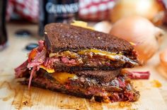 Corned beef grilled cheese sandwich with Guinness Carmelized Onions