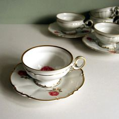 Vintage Cup and Saucer, Hutschenreuther Dundee Rose China Teacup Shabby Chic. $32.00, via Etsy.