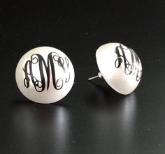 173dbaf9a Monogrammed Pearl Earrings Three 3 Initals by MonogramThat2015 Vinyl  Projects, Gifts For Her, Cufflinks