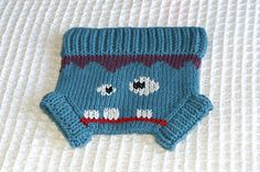 Frankie Diaper Cover - $ 3.50  Frankie is one of the Chez Designs Crazy Character patterns. The design gives him a squarish head like a Frankenstein monster and a ghoulish face but he is still pretty cute!