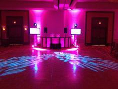 DJ multimedia setup with computer controlled up lighting, intelligent lighting and custom DJ booth. Marco Island Marriott wedding