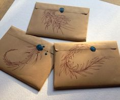 Paper Packages Like the creative use of brown ink on brown paper with added wax seal.Like the creative use of brown ink on brown paper with added wax seal. Wrapping Gift, Creative Gift Wrapping, Creative Gifts, Mail Art Envelopes, Kraft Envelopes, Art Postal, Letter Folding, Decorated Envelopes, Seal Design