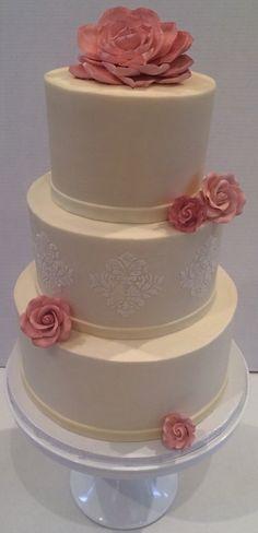 Buttercream cake quilted cake fresh flowers buttercream wedding